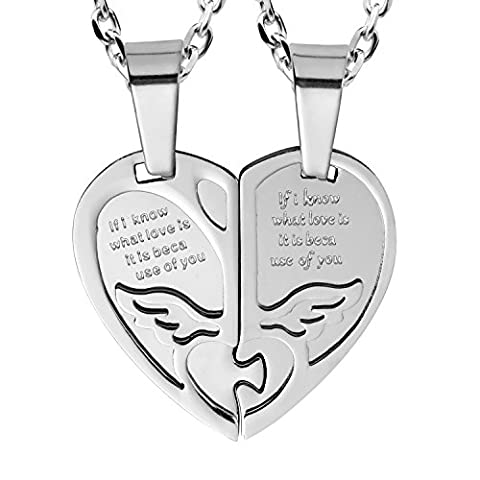 """2pcs His & Hers Angel Wings Heart Couples Pendant Necklace Set with 19"""" & 21"""