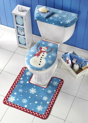 3pc Snowman Toilet Seat Cover and Rug Set Christmas Seasonal Holiday Décor