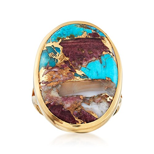 Ross-Simons Oval Kingman Turquoise Ring in 18kt Yellow Gold Over Sterling Silver