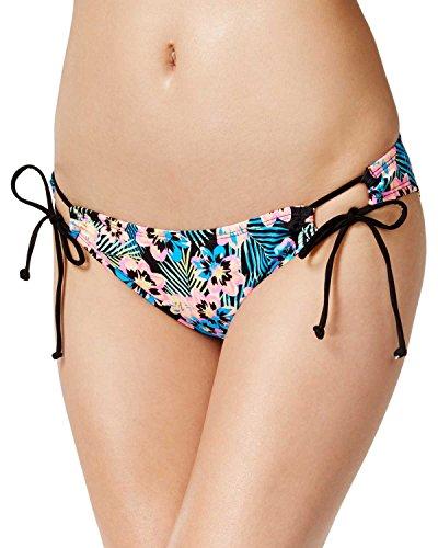Hipster Print Tie (Bikini Nation Juniors' Floral-Print Side-Tie Hipster Bikini Bottom (Large, Multi))