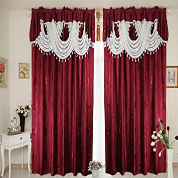 Luxury Beautiful Ready-made curtains (BURGUNDY CURTAINS WITH CREAM ...