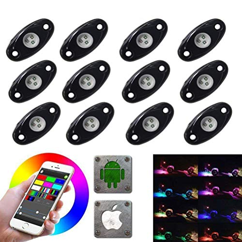 (LED Rock Light Kits with 6/8 Pods RGB Lights for for Trucks, Jeeps, SUV, ATV - Offroad, Crawling, Climbing Waterproof, SoundSync, Bluetooth App Controls Lamp Waterproof (12)