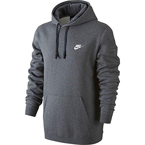 Nike Mens Sportswear Pull Over Club Hooded Sweatshirt - X-Large - Charcoal Heather/White