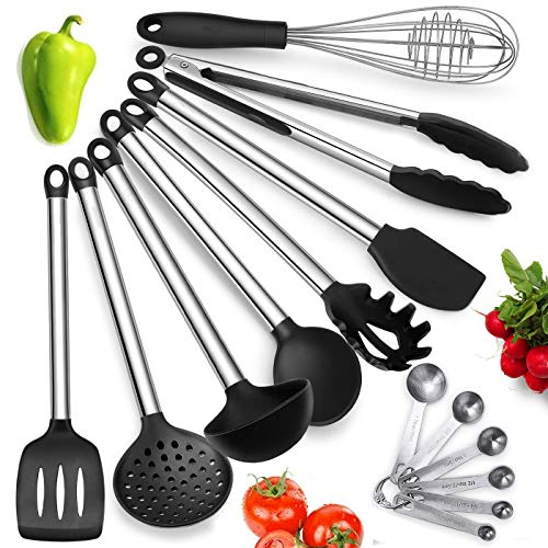 Wolf War Kitchen Serving Utensil Set, Set of 14 Silicone Kitchen Utensils with Stainless Steel Handles, Nonstick Cooking Tools - Tongs, Serving Spoon, Whisk, Spatula, Ladle, Slotted Turner, Spatula