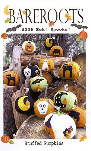 Eek! Spooks! Stuffed Pumpkins Halloween Wool Applique Pattern, Wool Felt & Floss kit by Bareroots -