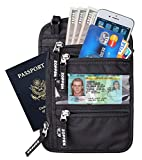 Zoppen RFID -Blocking Travel Passport holder Neck Stash Ultra Slim Wallet, Black