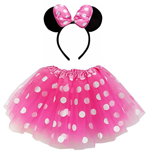 So Sydney Kids Teen Adult Plus 2-3 Pc Tutu Skirt, Ears, Tail Headband Costume Halloween Outfit (M (Kid Size), Minnie Hot Pink & White Polka Dot)