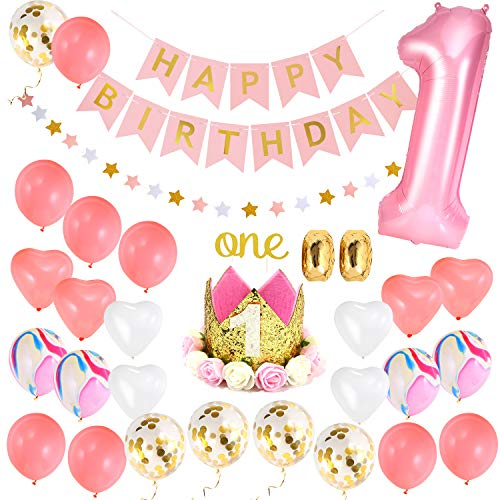 One First Birthday Decorations Set for Baby Girl |1st Birthday Girl Set:1st Pink Number 1 Balloon,Happy Birthday Banner,1st Birthday Baby Princess Tiara Crown,One Cake Topper Gold Pink Balloons