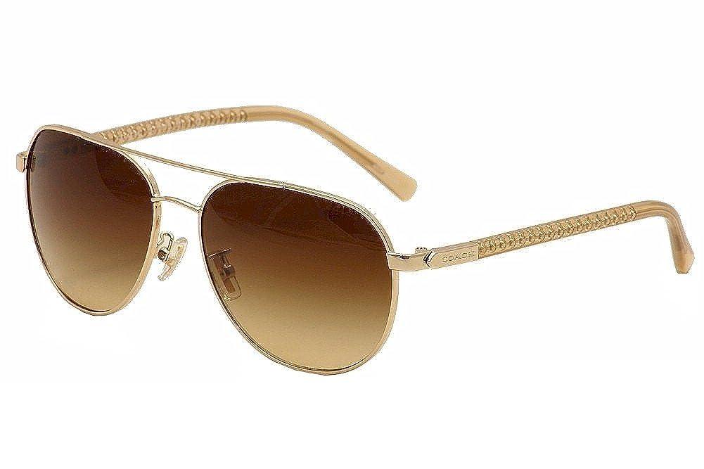 974b812b2ede Amazon.com: COACH Women's 0HC7053 Light Gold/Brown Gradient Sunglasses:  Clothing