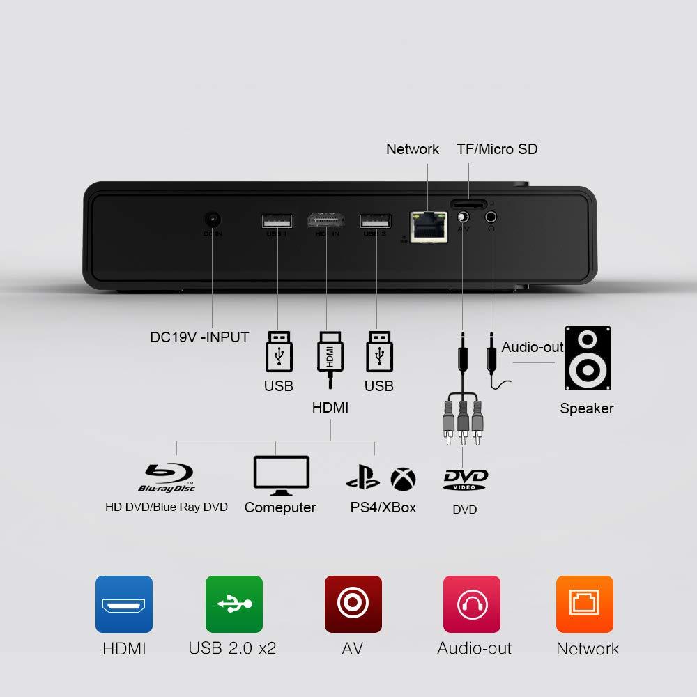 Mini Proyector T5 2019 Nueva Android 6.0 Port/átil Videoproyector Bater/ía Incorporada 3D DLP-Link 2400-Lumen WiFi Soporte Bluetooth HDMI 4K Correcci/ón Distorsi/ón Trapezoidal Negro