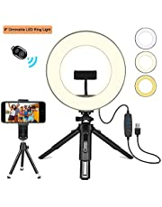 """Creatck 8"""" LED Ring Light with Tripod Stand, Dimmable 3 Light Modes & 10 Brightness Selfie Desk Makeup Light with Cell Phone Holder USB Live Streaming Circle Light for Youtube Video Photography"""