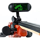 Rinastore Professional Violin Viola Tuner, Clip-On Large LCD Screen Tuner (Black)