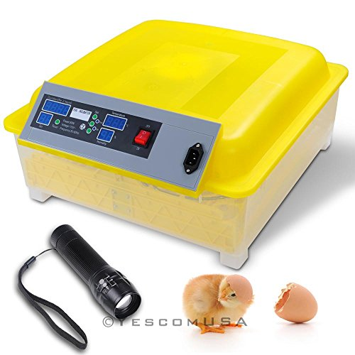 Yescom Digital 48 Egg Incubator Clear Hatcher w/ Automatic Tuner & Candler Chicken Poultry Duck Bird