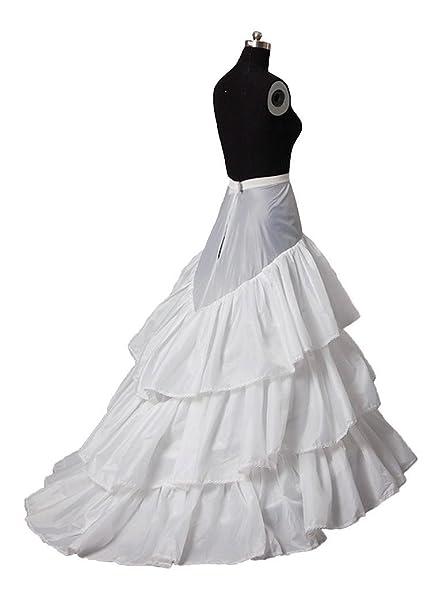 Zorayi 3-layer Ruffled Bridal Gown Crinonline Train Wedding Dress ...