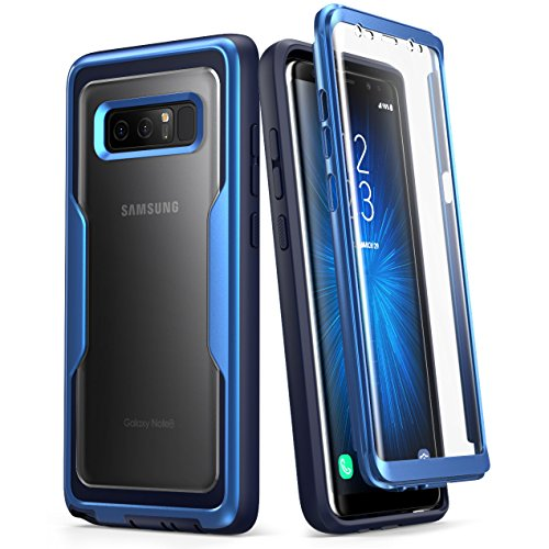 i-Blason Case for Galaxy Note 8, [Magma Series] Built-in Screen Protective Clear Back Cover with Holster [Heavy Duty] Belt Clip Shell (MetallicBlue) Clear Cover Case Clip