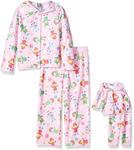 Dollie & Me Little Girls' 2 Piece Flannel Button Front Sleep Set With Matching 18 Inch Doll Outfit, Pink Snow Angel, - Piece Button Pajamas Flannel 2