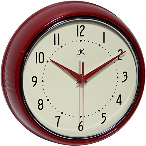 9.5 inch SILENT Metal Red Wall Clock Round Retro by Infinity Instruments (Kitchen Clocks Red Wall)