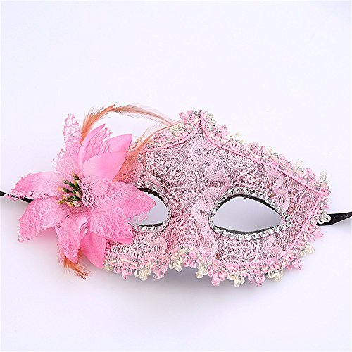Mardi Gras Party Masquerade Mask,Halloween Makeup Dance Half face Party mask lace Leather Floral Child Adult Eye mask Pink Prom Masks