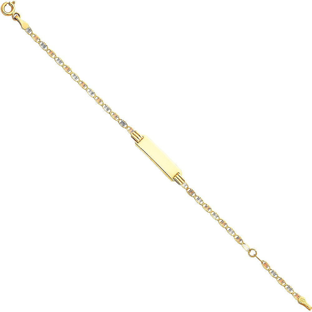 14k Tri Color Gold 3mm ID Valentino Bracelet with Spring Ring Clasp - 5+1''