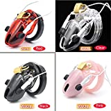 Smaller Cock Cage Male Electro Chastity Device (ECB) Shock Transparent Belt Lock Plastic Device Sleeve Sex Toys A192 Red