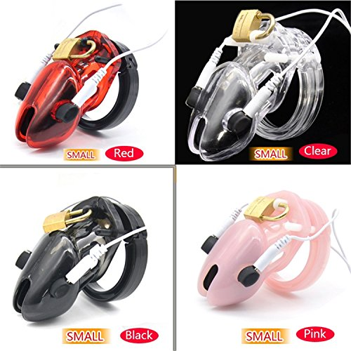 Smaller Cock Cage Male Electro Chastity Device (ECB) Shock Transparent Belt Lock Plastic Device Sleeve Sex Toys A192 Red by Anyt-well