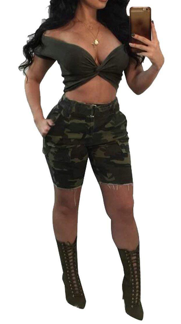 Summer Women Summer Off Shoulder Crop Top & High Waist Camo Hot Shorts Outfits Clubwear