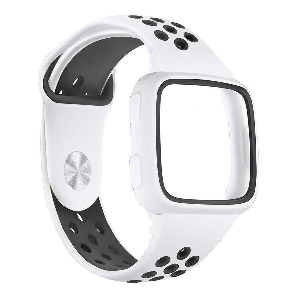 yuemizi Replacement Watch Band Bracelet Soft Silicone Sport Strap+Frame For Fitbit Versa (White) by yuemizi (Image #3)