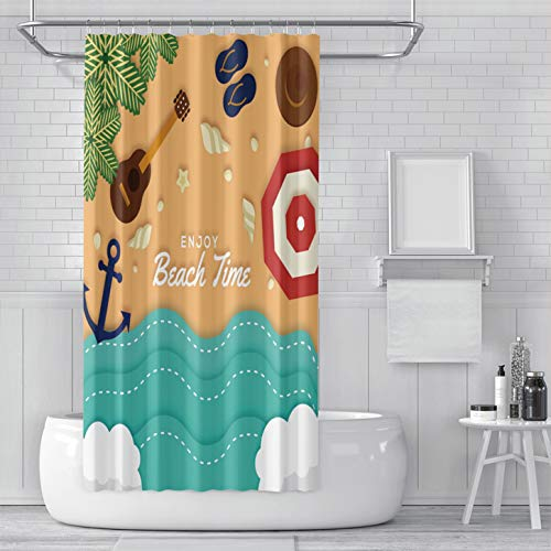 SCMISS Shower Curtain with Hooks Modern Fashion Beach Top in Paper Style Wave Anchor Shell Guitar Music Plant Summer Waterproof Mildew Resistant Bathroom Fabric Stall Size 48 x 72 inches ()