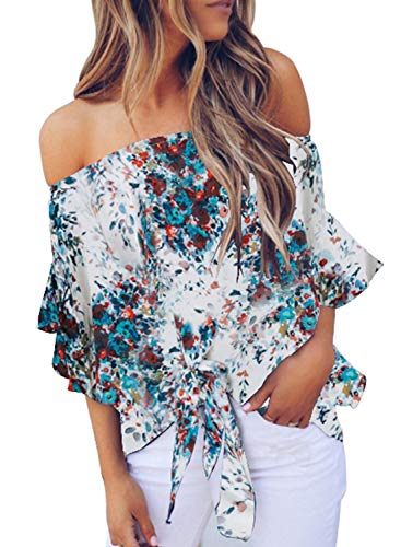 FARYSAYS Women's Summer Floral Printed Off Shoulder Bell Sleeve Shirt Tie Knot Casual Chiffon Blouses Tops White Medium