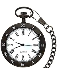 New Brand Mall Vintage Roman Numerals Antique Style Quartz Pocket Watch With Black Chain