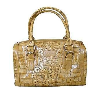 Crocodile Stamp PVC Exterior Handbag Soft exterior with goldtone Bags