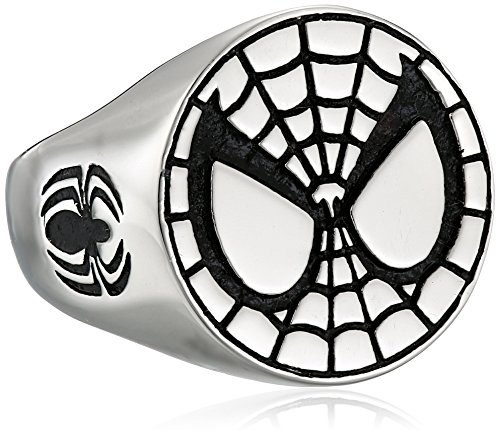 Marvel Comics Unisex Spider-Man Stainless Steel Ring, Size 8 (Spider Man Jewelry)
