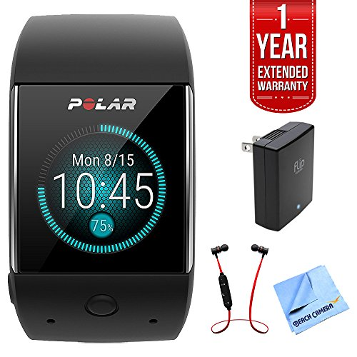 Polar M600 Sports Smart Watch - Black (90063087) w/Extended Warranty Bundle Includes, 1 Year Extended Warranty, Fusion Bluetooth Headphones, Universal Travel Wall Charger & 1 Piece Micro Fiber Cloth by Polar