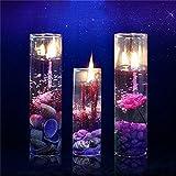 Caxmtu Porte-bougie gel romantique en verre motif cristal brillant série Ocean pour décoration de fête d'anniversaire (lot de 2)