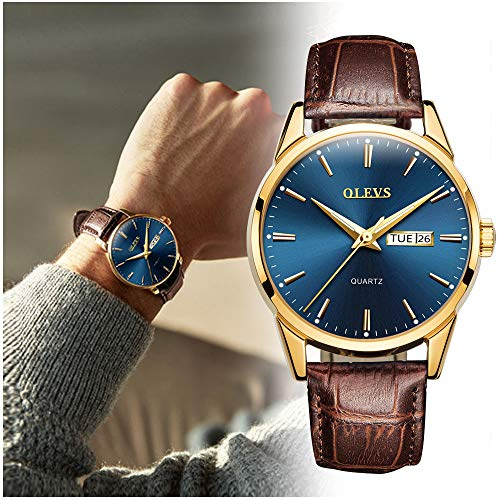 OLEVS Men's Business Dress Watches Luminous Analog Quartz Alloy Genuine Leather Strap Buckle Band Calendar Date Day Dial Casual Wristwatch for Men Father Boyfriend Waterproof Classic Brown