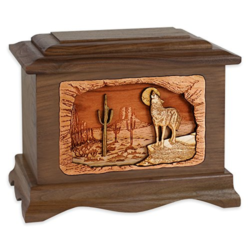 Wooden Cremation Urn - Ambassador Shape with Southwestern Desert Coyote 3-Dimensional Inlay Wood Art Memorial - Funeral Urns for Adults - Inlay Southwestern