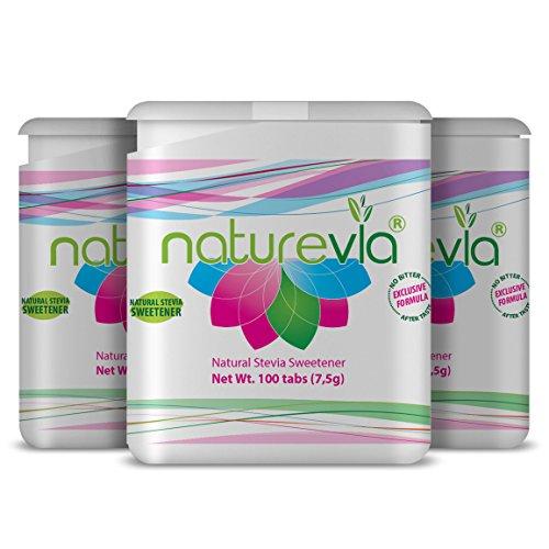 Sugar free sweetener Natural with Stevia Naturevia Tabs Lactose Free 100 Pieces 3 (Tabs Sugar)