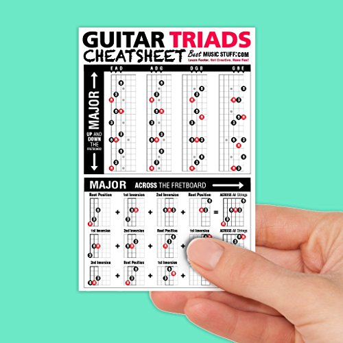 Guitar Triads Cheatsheet Laminated Pocket Reference (SMALL – 4-in x 6-in)