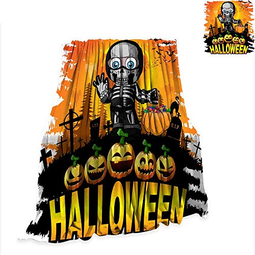 Betterull Throw Blanket Halloween Design Template with boy in a Suit Skeleton 60