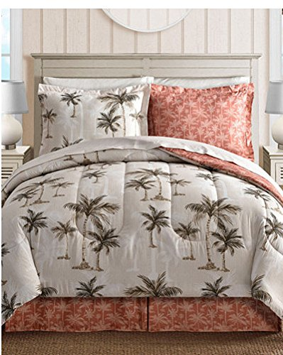 (Island Living Coral, Tropical Palm Tree, Hawaiian Beach, Reversible King Comforter Set (8 Piece Bed In Bag) + HOMEMADE WAX)