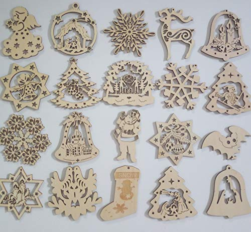 Teda Wooden Christmas Ornaments Decorations Set of 20 Each with Unique Design, Xmas Tree, Snowman, Bells, Snowflake, Santa and Star, Kids DIY Gift Idea, Teacher's Gift Idea, Holiday Decor