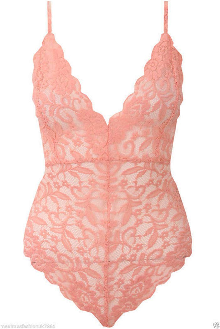 Choker Strappy Plunge V Neck Full Lace Cross Back Bodysuit Womens Bodycon Top