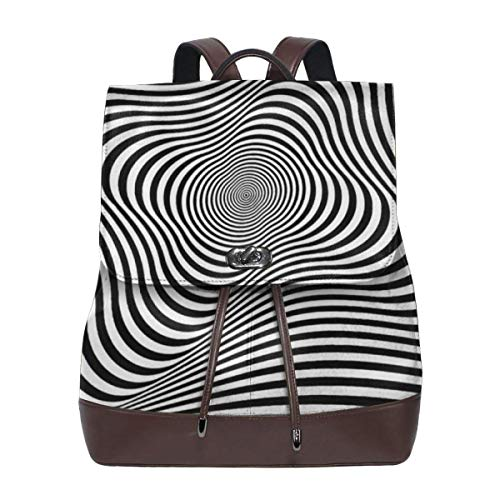 Rotation Movement Abstract OP Art Womens PU Leather Designer Backpack Purse Ladies Elegant Daypack Travel Shoulder Handbags