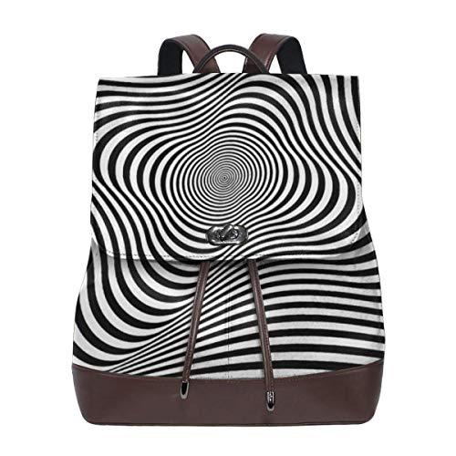 Rotation Movement Abstract OP Art Women PU Leather Designer Backpack Rucksack Ladies Elegant Daypack Travel Shoulder Handbags