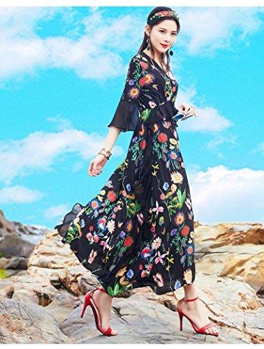 Couleur V Robe de Soie Soie Robes MiGMV 2018 des en Nouveau Robe Soie Robe Robe en imprime S Style Longue d't Fleurs Hw88PqW7