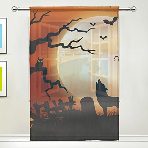 JSTEL Halloween Night Wolf Pumpkins Owl Moon Pattern Floral Print Tulle Voile Door Window Room Sheer Curtain Drape 1 Panel Scarf Valances Wide Width Screen Gauze Curtain for Bedroom 55 x 84 Inch , Sin]()