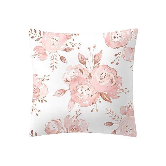 Kissenbezug 45x45 Dekokissen Kissenhülle Bezug Hülle Kopfkissen Rose Blumen Rosa