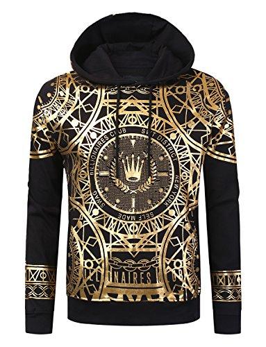 Hip Hop Crown (URBANCREWS Mens Hipster Hip Hop Crown Gold Foil Print Pullover Hoodie Black, S)
