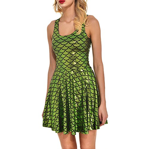 Molif New Women Summer Shiny Dragon Fish Scale Golden 3D Prints Reversible Sleeveless Pleated Dress Army Green M ()