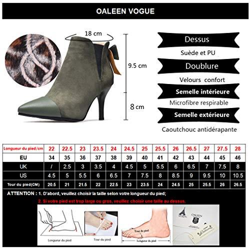 Oaleen Chaussures Hiver Olive Femme Bi Noeud Boots Vert Bottines Pointues Talon Aiguille matière Elégant rrzRa